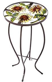 amazon com summer splash round glass table patio side tables