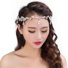 luxury hair jewelry for rhinestone leaf headbands forehead
