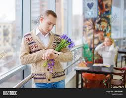 strangers flowers girl wants get acquainted image photo bigstock