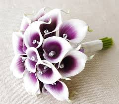 silk calla lilies silk flower wedding bouquet purple heart calla lilies