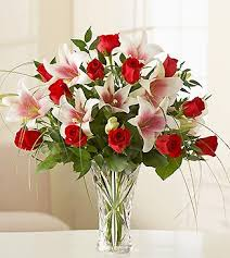 Lenox Vase With Rose Red Rose And White Lilies In Lenox Crystal Vase Png 1 Comment