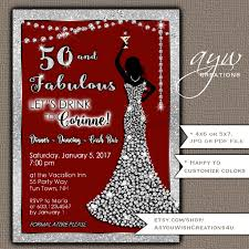 50th birthday party invitations woman bling dress fifty u0026
