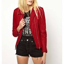 lowest price blood red leather jacket for women at paucileather com