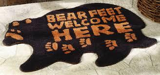 Bear Feet Welcome Rug Northwoods Home Decor Woodland Decor
