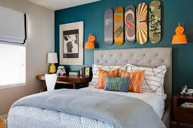 Teen Boy Bedroom Tufted Headboard King In Kids Transitional With Blue Accent Wall