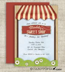 Invitation Card Store Sweet Shoppe Sweet Shop Birthday Party Invitations Vintage