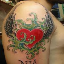 winged heart tattoo design on half sleeve tattoomagz