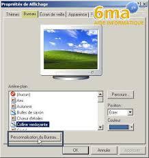 afficher sur le bureau afficher une page web sur le bureau de windows xp