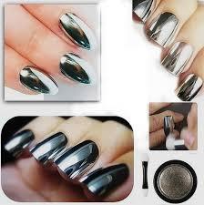 new silver effect mirror chrome nail powder pigment no polish foil