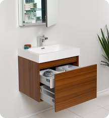 Small Contemporary Bathroom Vanities by Fresca Nano Teak Modern Bathroom Vanity With Medicine Cabinet Is