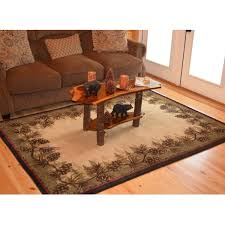 Pine Cone Area Rugs Rustic Lodge Pine Cone Border Ivory Area Rug 2 2 X 3 3 2 X 3