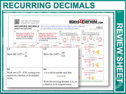 converting recurring decimals into fractions gcse revision by