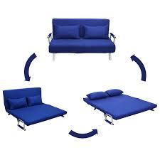 Blue Sleeper Sofa Homcom 61 Folding Futon Sleeper Sofa Bed Blue