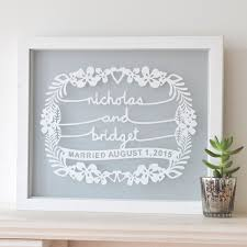 personalised wedding gifts personalised wedding paper cut gift
