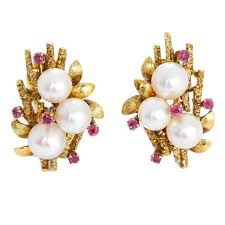 beautiful gold earrings images beautiful pearl ruby gold earrings at 1stdibs