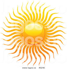 royalty free vector of a fiery summer sun with rays logo by