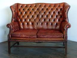 wingback couch 1930 leather tufted wing back style sofa at 1stdibs
