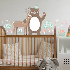 wall decal children s pattern forest friends with bear and deer