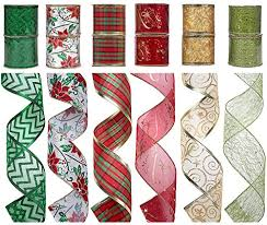 12 rolls christmas ribbon decorations wired edge sheer glitter
