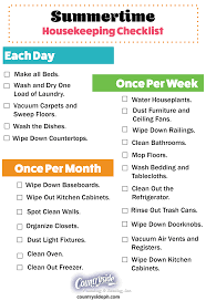 house keeping printable summer housekeeping checklist countryside plumbing