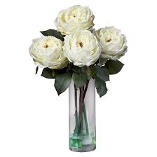 Bouquet Of Flowers In Vase Nearly Natural Fancy Rose W Cylinder Vase Silk Flower Arrangement