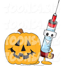 halloween pumpkin cartoons vector illustration of a cartoon syringe mascot by a halloween
