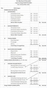 cara membuat laporan laba rugi komersial contoh format harga pokok produksi perusahaan manufaktur akuntansi id
