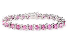 silver pink bracelet images 1 2 carat created pink sapphire sterling silver bracelet with jpg