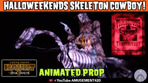 animated talking prop skeleton cowboy on horse tombstone terror
