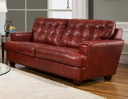 Burgundy Living Room Furniture by Tufted Top Grain Leather Modern Sofa W Options