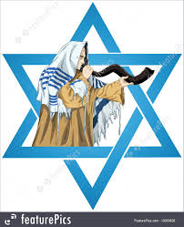 shofar tallit emblems and symbols of david rabbi with tallit blows the