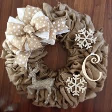 burlap wreath love the reindeer u0026 snowflakes reds u0026 silvers on