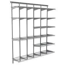 Closetmaid Shelf Track System Closetmaid Max Load Garage 6 Ft X 16 In Satin Chrome Ventilated