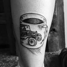 nice coffee cup tattoo for legs picsmine