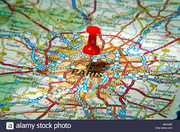 Road Map Of France by Map Pin Pointing To Paris France On A Road Map Stock Photo