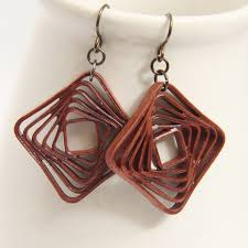 eco earrings square spiral swirl geometric rust brown by honeysquilling on zibbet
