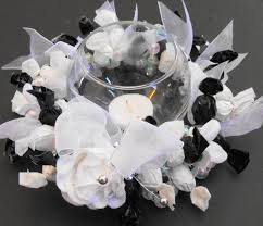candy centerpiece wreath bridal shower black white wedding