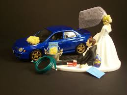 car wedding cake toppers auto car wash 2002 subaru impreza wrx blue and groom