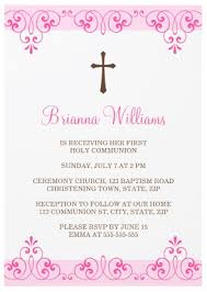 communion invitations for girl pink lace damask communion invitation for
