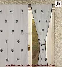 White Curtain Panel Rod Pocket Block Printed Tree Cotton White Curtain Panels For