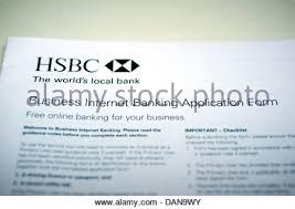 hsbc bank business internet banking application stock photo
