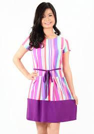 violet dress violet stripe printed ribbon waist tie dress syala collections