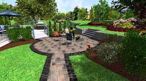 free 3d landscape design software with modern living area stone