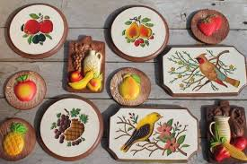 kitchen wall plaques vintage chalkware wall plaques wood grain kitchen boards