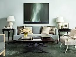 Dark Rug Living Rooms Blue Lamps Hardwood Flooring Contemporary Artwork