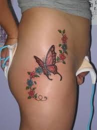 colourful butterfly tattoos buttocks design idea
