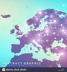 Array Map Geometric Graphic Background Communication With Europe Map Big