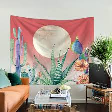 watercolor cactus landscape tapestry wall hanging home decor