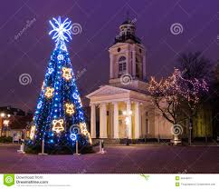 christmas tree near old church in ventspils royalty free stock