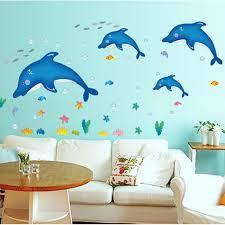 stickers cuisine enfant bleu dauphin algues maison cuisine enfants de chambre décoratif pvc